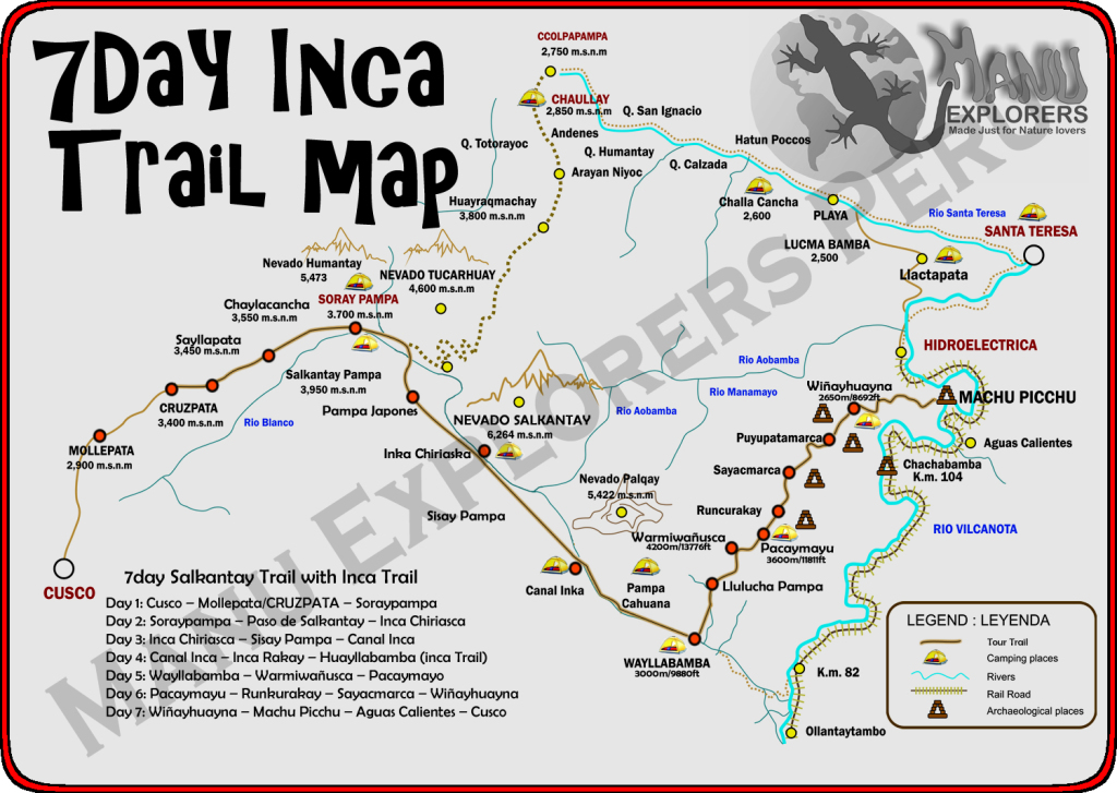 7Day Inca Trail Map That Combines de Salkantay trek with the Inca Trail